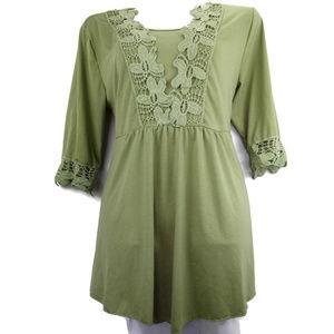 Tops - Green Crochet Embellished XXL Baby Doll Tie Tunic